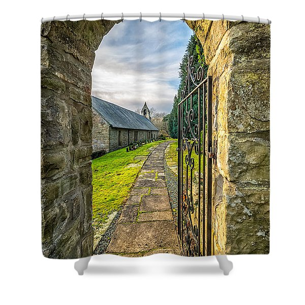 Church Way Shower Curtain by Adrian Evans