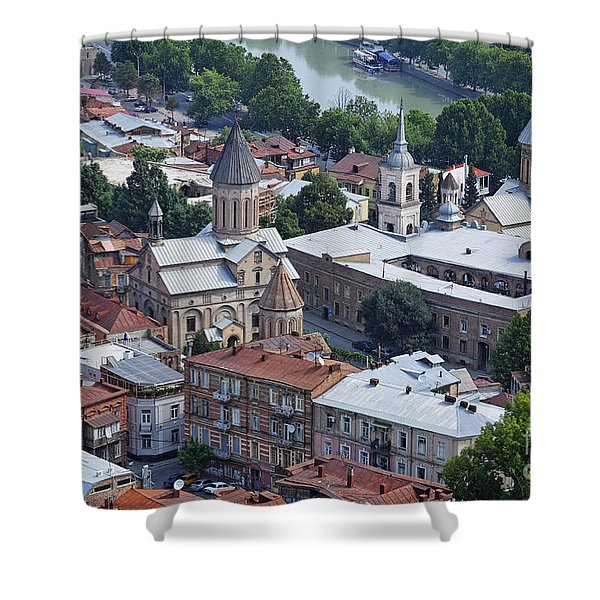 Churches By The Mtkvari River In Tbilisi Shower Curtain by Robert Preston