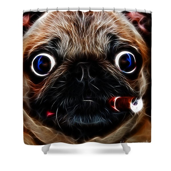 Cigar Puffing Pug - Electric Art Shower Curtain by Wingsdomain Art and Photography