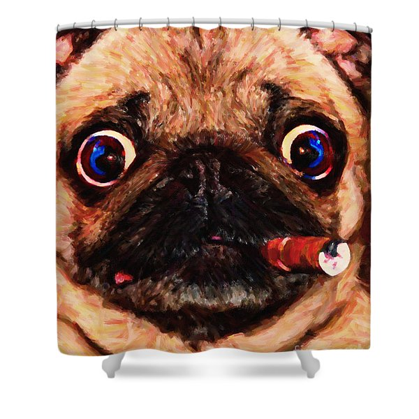 Cigar Puffing Pug - Painterly Shower Curtain by Wingsdomain Art and Photography