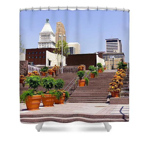 Cincinnati Downtown Central Business District Shower Curtain by Paul Velgos