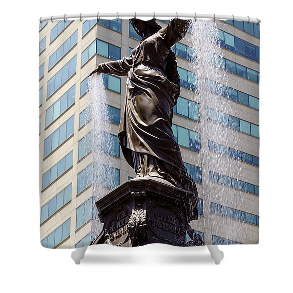 Cincinnati Fountain Genius of Water by Tyler Davidson  Shower Curtain by Paul Velgos