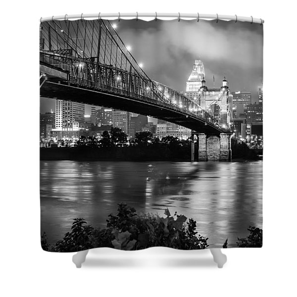 Cincinnati Skyline - John Roebling Bridge and Ohio River Shower Curtain by Gregory Ballos