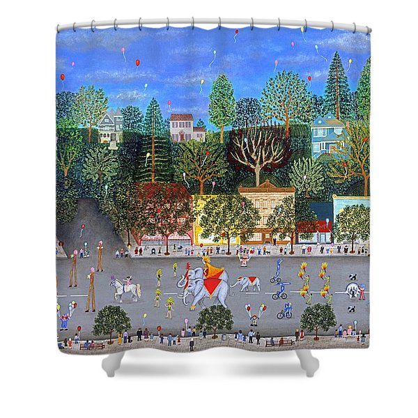 Circus Parade Two Shower Curtain by Linda Mears