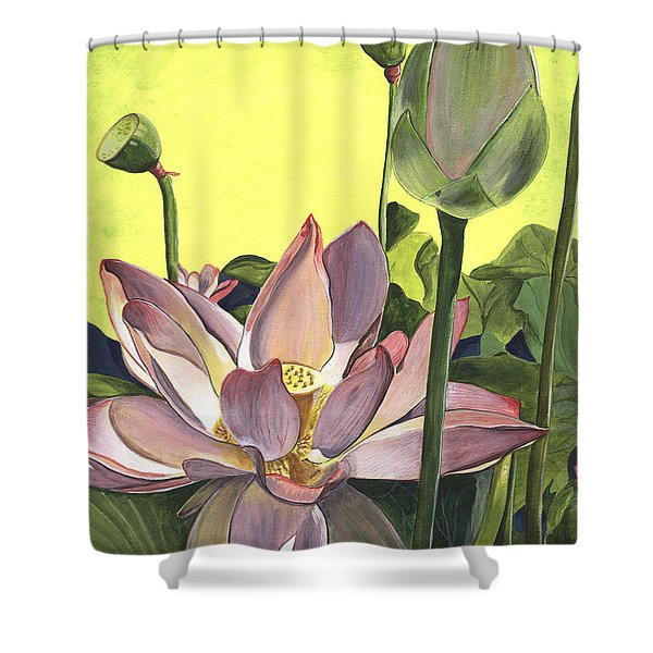 Citron Lotus 2 Shower Curtain by Debbie DeWitt