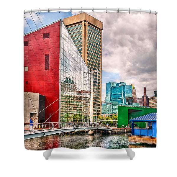 City - Baltimore Md - Harbor Place - Future City Shower Curtain by Mike Savad