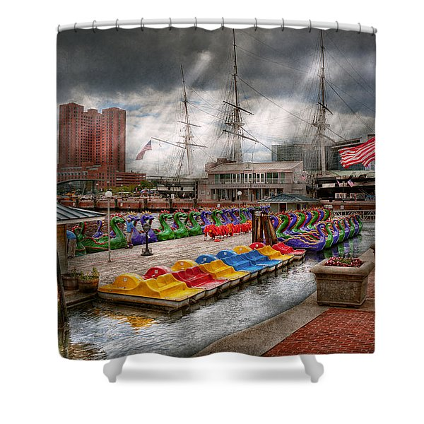 City - Baltimore Md - Modern Maryland Shower Curtain by Mike Savad