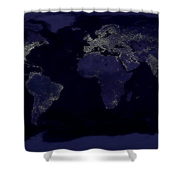 City Lights Shower Curtain by Sebastian Musial