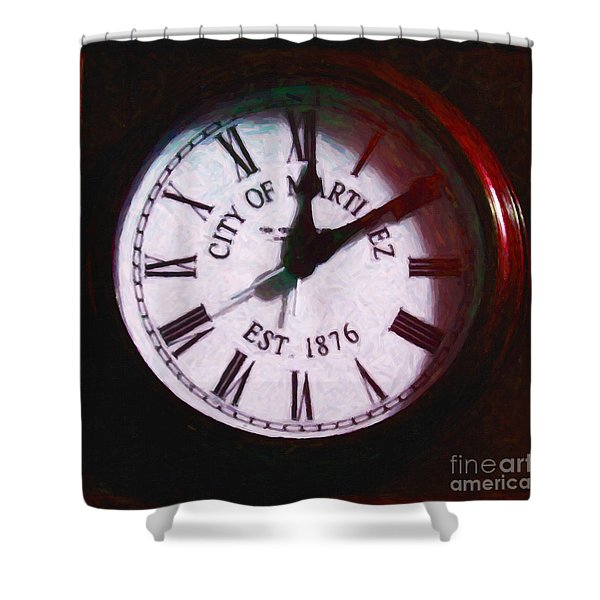 City Of Martinez California Town Clock - 5d20862 - Painterly Shower Curtain by Wingsdomain Art and Photography