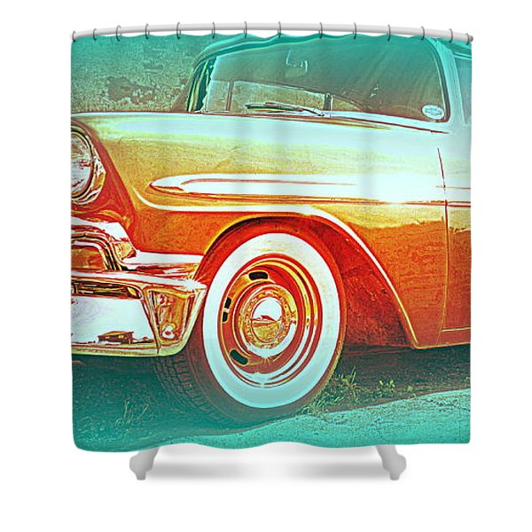 Classic car patiently waiting  Shower Curtain by Hilde Widerberg