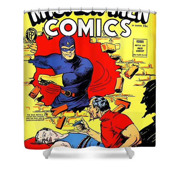 Classic Comic Book Cover - Mystery Men Comics - 1200 Shower Curtain by Wingsdomain Art and Photography