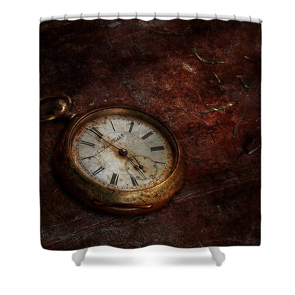Clock - Time waits Shower Curtain by Mike Savad