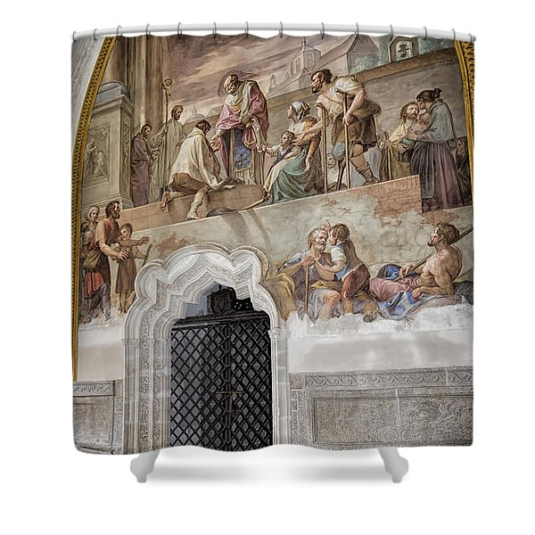 Cloister Fresco Shower Curtain by Joan Carroll