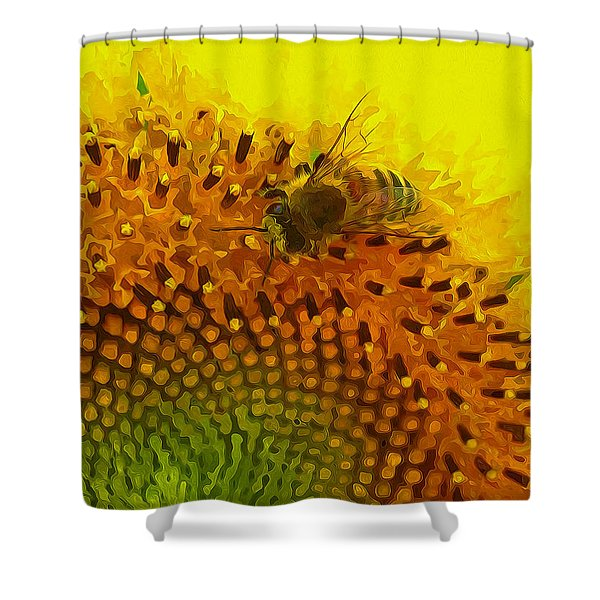 Close up of bee on sunflower 1 Shower Curtain by Lanjee Chee