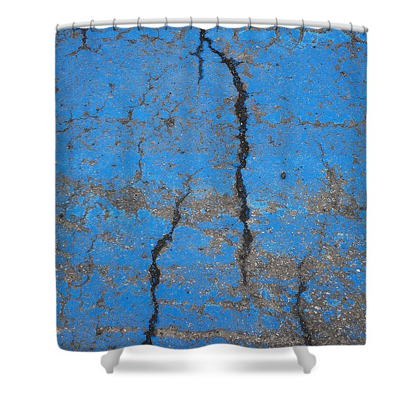 Close Up Of Cracks On A Blue Painted Shower Curtain by Perry Mastrovito