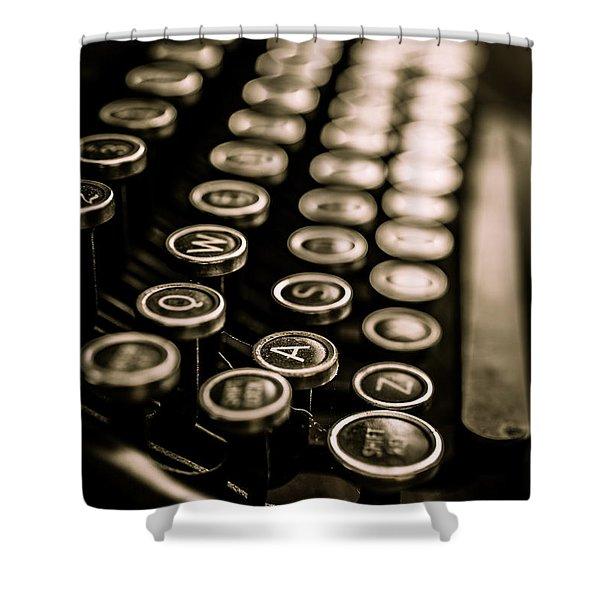 Close Up Vintage Typewriter Shower Curtain by Edward Fielding