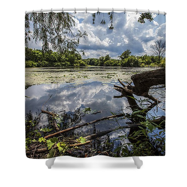 Clouds On The Water Shower Curtain by CJ Schmit