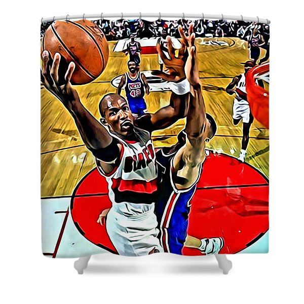 Clyde Drexler Shower Curtain by Florian Rodarte