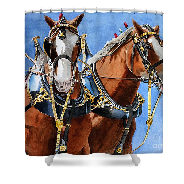 Clydesdale Duo Shower Curtain by Debbie Hart