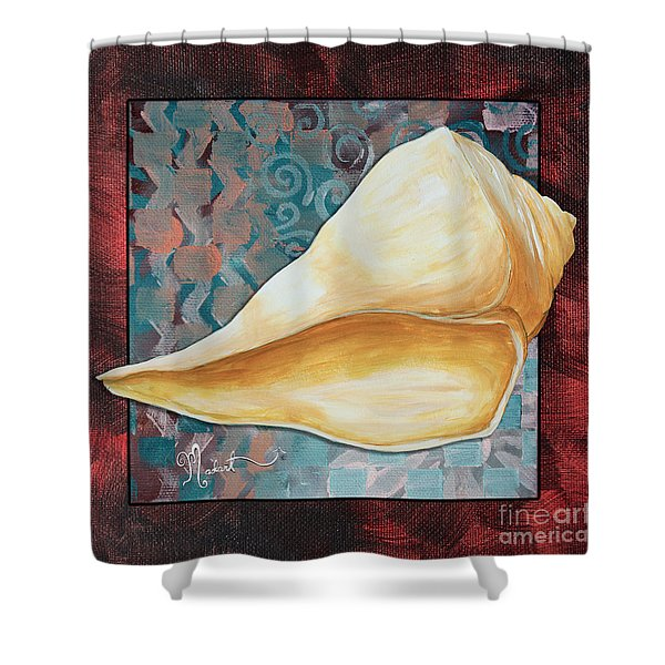 Coastal Decorative Shell Art Original Painting Sand Dollars ASIAN INFLUENCE II by Megan Duncanson Shower Curtain by Megan Duncanson