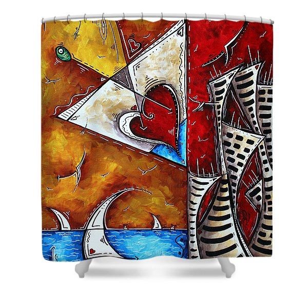 Coastal Martini Cityscape Contemporary Art Original Painting HEART OF A MARTINI by MADART Shower Curtain by Megan Duncanson