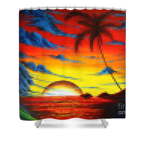 Coastal Tropical Abstract Colorful Pixel Art Digital Painting Compilation Tropical Bliss By Madart Shower Curtain by Megan Duncanson