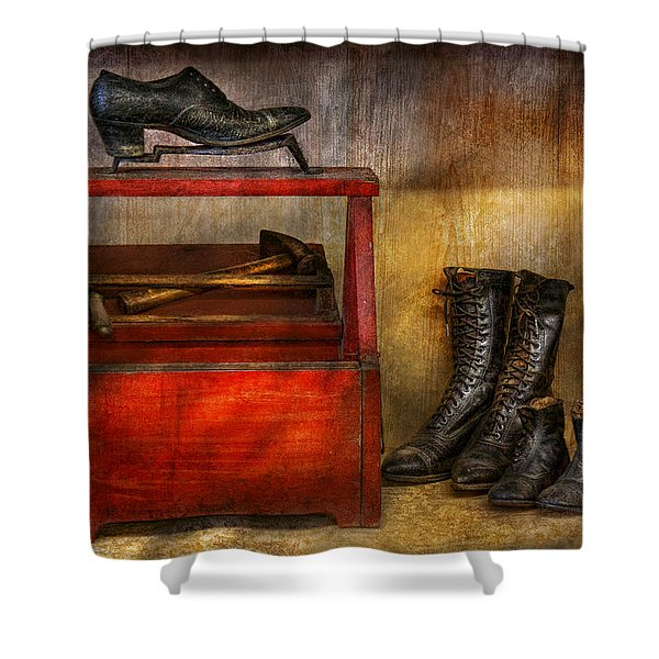 Cobbler - Life Of The Cobbler Shower Curtain by Mike Savad