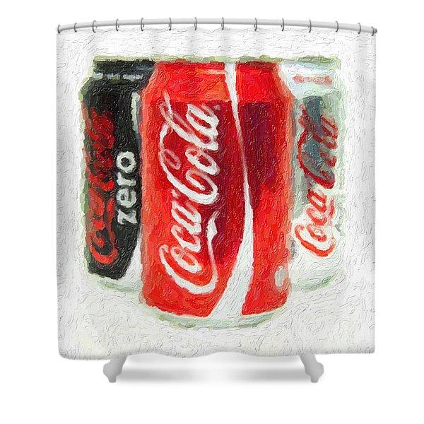 Coca Cola Art Impasto Shower Curtain by Antony McAulay