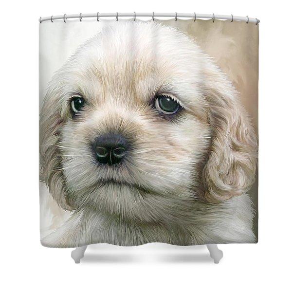 Cocker Pup Portrait Shower Curtain by Carol Cavalaris