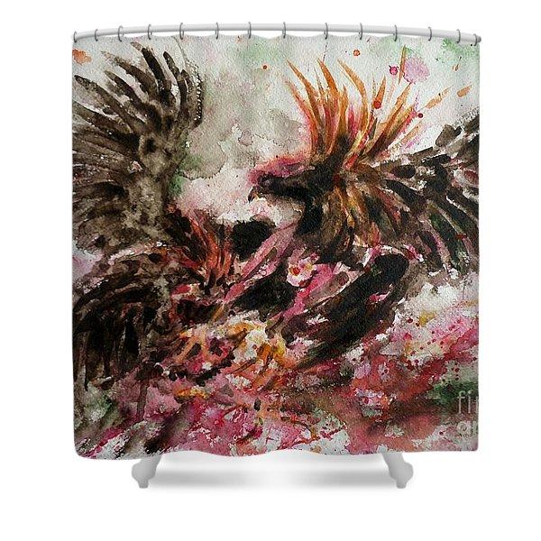 Cockfight Shower Curtain by Zaira Dzhaubaeva