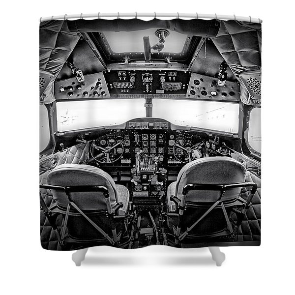 cockpit of a DC3 Dakota Shower Curtain by Paul Fell