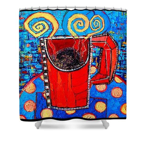 Coffee Cups Triptych Shower Curtain by Ana Maria Edulescu