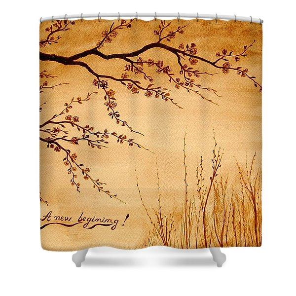 Coffee Painting Cherry Blossoms Shower Curtain by Georgeta  Blanaru