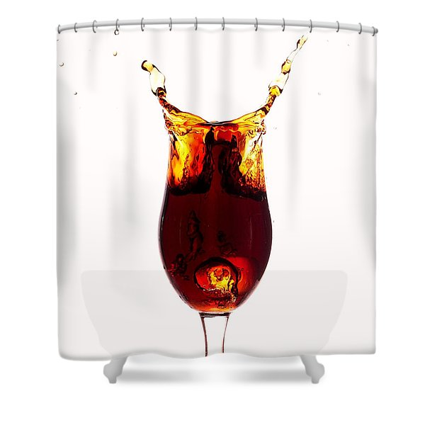 Coke splashing in the cup liquid art Shower Curtain by Paul Ge
