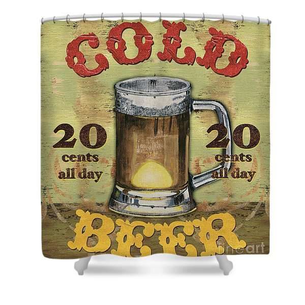 Cold Beer Shower Curtain by Debbie DeWitt