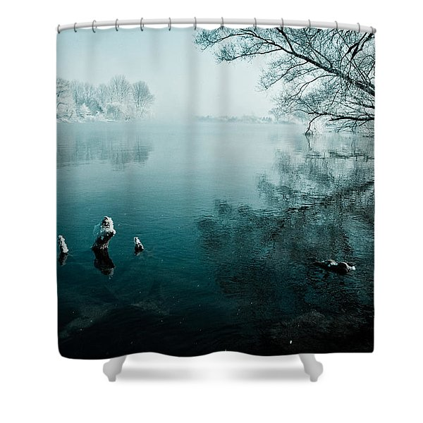 Color of Ice Shower Curtain by Davorin Mance
