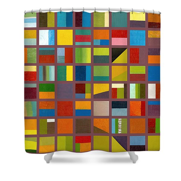 Color Study Collage 65 Shower Curtain by Michelle Calkins