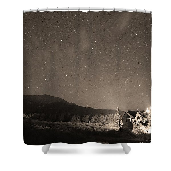 Colorado Chapel On The Rock Dreamy Night Sepia Sky Shower Curtain by James BO  Insogna