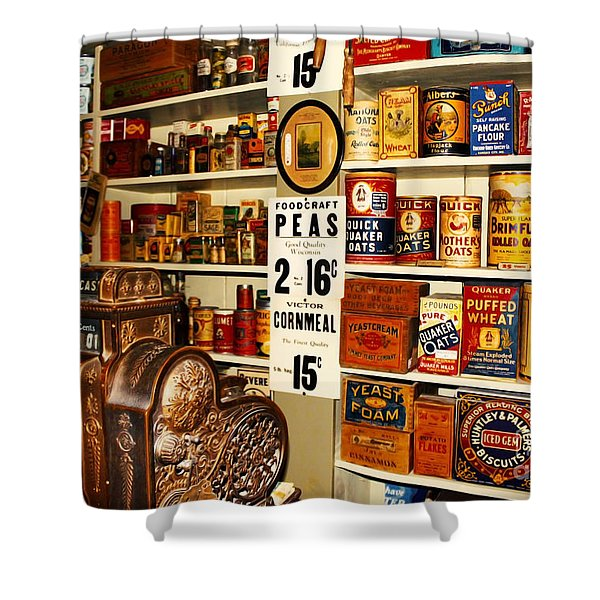 Colorado General Store Supplies Shower Curtain by Janice Rae Pariza