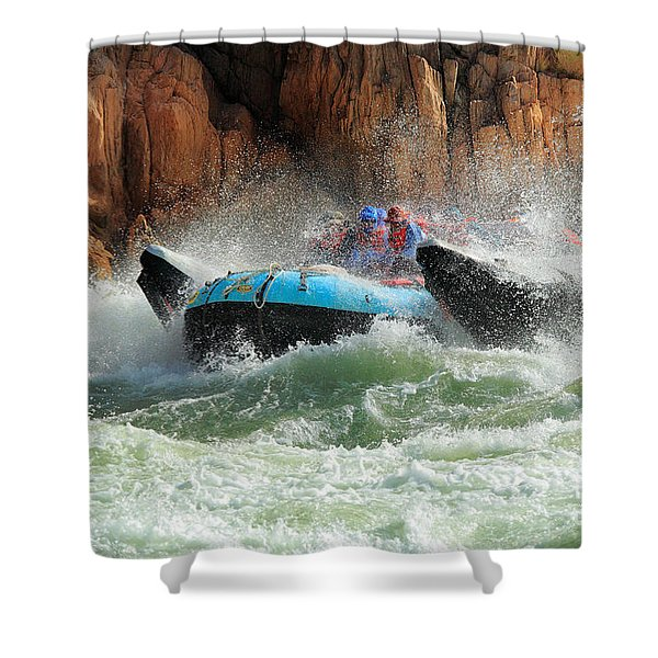 Colorado River Rafters Shower Curtain by Inge Johnsson