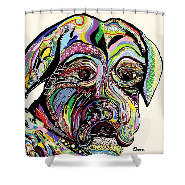 Colorful Boxer Shower Curtain by Eloise Schneider