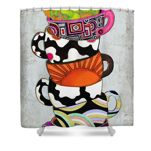 Colorful Coffee Cups Mugs Hot Cuppa Stacked I by Romi and Megan Shower Curtain by Megan Duncanson