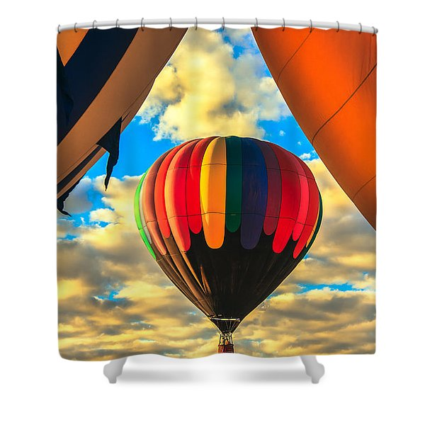 Colorful Framed Hot Air Balloon Shower Curtain by Robert Bales