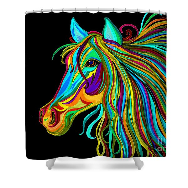 Colorful Horse Head 2 Shower Curtain by Nick Gustafson