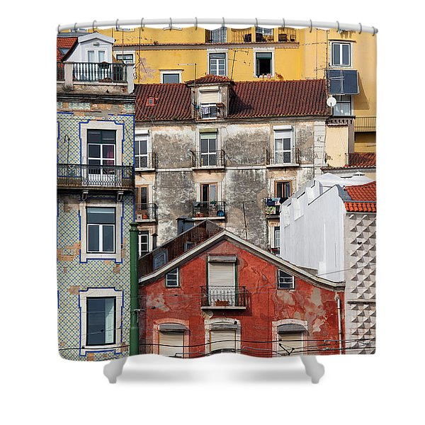 Colorful Houses In The City Of Lisbon Shower Curtain by Artur Bogacki