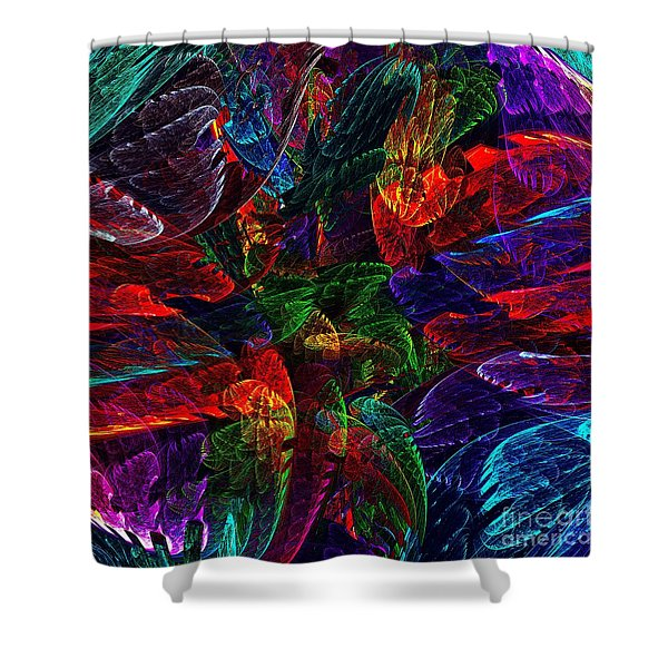 Colorful Leaves Shower Curtain by Klara Acel