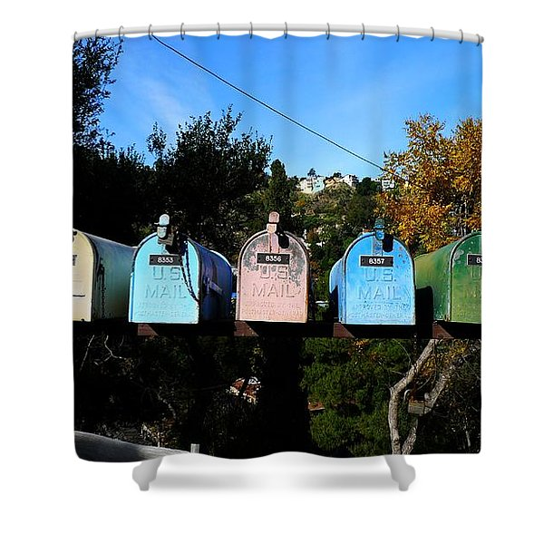 Colorful Mailboxes Shower Curtain by Nina Prommer