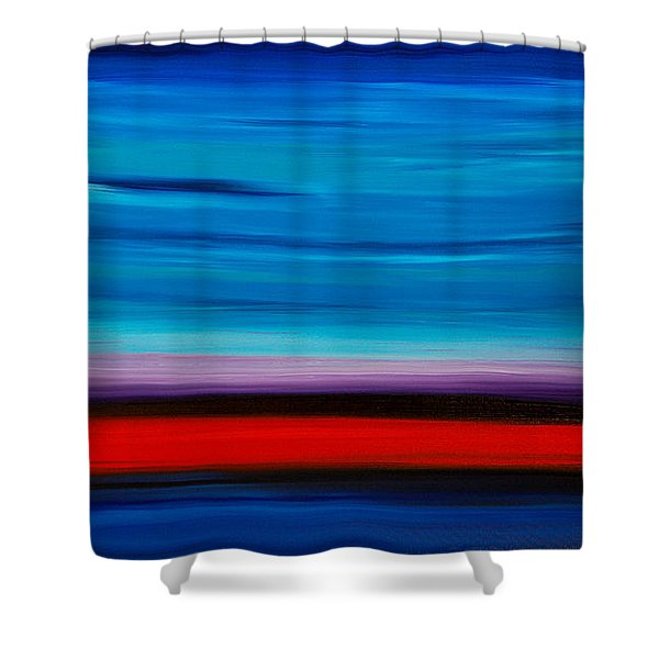 Colorful Shore - Blue And Red Abstract Painting Shower Curtain by Sharon Cummings