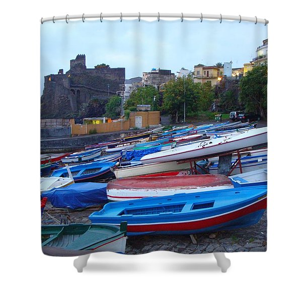Colorful Wooden Fishing Boats Of Aci Castello Sicily With 11th Century Norman Castle Shower Curtain by Jeff at JSJ Photography
