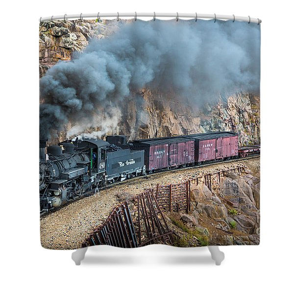 Coming around the corner Shower Curtain by Inge Johnsson